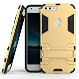 Kapa Defender-II Dual Layer Shockproof Stand Bumper Back Case Cover for Google Pixel XL - Gold