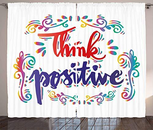ABAKUHAUS inspirativ Rustikaler Gardine, Denk positiv, Schlafzimmer Kräuselband Vorhang mit Schlaufen und Haken, 280 x 175 cm, Mehrfarbig