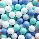 MoonxHome Ball Pit Balls Crush Proof Plastic Balls for Children's Toy Balls Macaron Ocean Balls 2.15 inch Pack of 100 White&Green&Blue