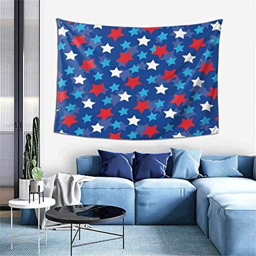 ZharkLI Decoración de pared psicodélico, manta de playa, tapiz indio de pared de 106 x 152 cm, diseño patriótico inspirado en estrellas de la bandera de Estados Unidos