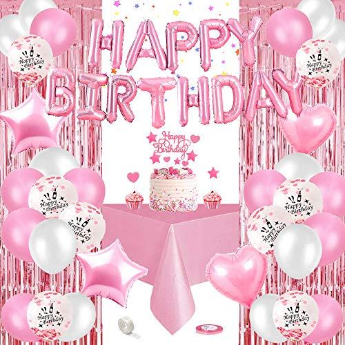 specool Geburtstagsdeko Rosa, Happy Birthday Girlande Rosa, Rosa Konfetti Ballons Banner Set mit Geburtstag Dekoration, Folien Luftballons Tischdecke Glitzer Vorhang für Mädchen Freundin Tochter