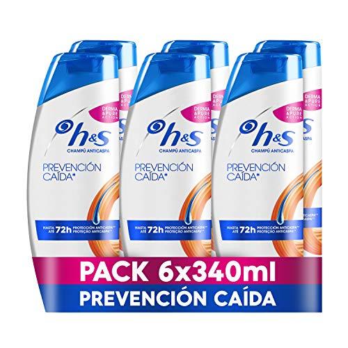 H&S Prevención Caída Para Él Champú Anticaspa, 6 x 340 ml