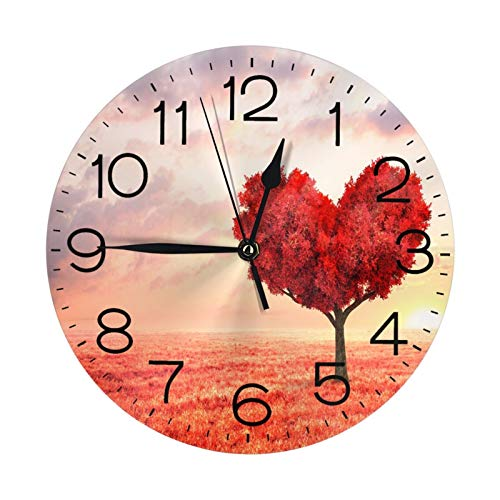 Charm of Love Tree Wall Clock 10 Round,- Battery Operated Wall Clock Clocks for Home Decor Living Room Kitchen Bedroom Office School