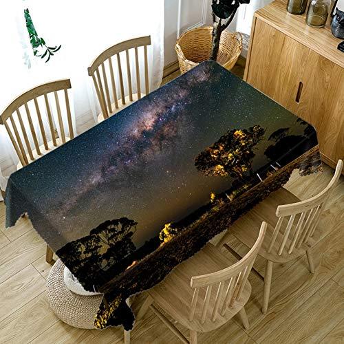 Amody Mantel Mesa Comedor Rectangular, Manteles Mesa de Centro Escena Nocturna Salvaje Manteles Mesa Negro 110x170CM