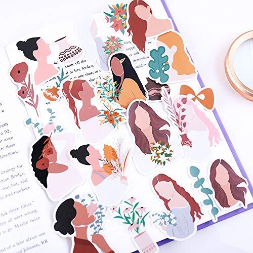 BUCUO Etiqueta engomada de la Cuenta de Mano Lindo teléfono móvil de Dibujos Animados Cuaderno Impermeable Material de decoración Herramienta Chica corazón Morandi Chica