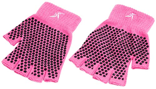 ProsourceFit Grippy Yoga Gloves, One Size Fits All, Non-Slip Fingerless Design in Pink