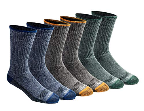 Dickies Men's Dri-tech Moisture Control Crew Socks Multipack, Heathered Colored (6 Pair), Shoe Size: 6-12