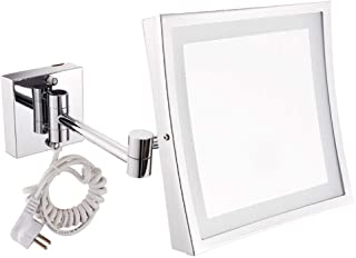 Makeup Mirror, 8inch Makeup Shaving Mirror Wall Mounted Mirrors LED Lighted Bathroom Mirror for Hotel Vanity with Adjustable Extendable Square 3X Magnification Surface Chrome Finish