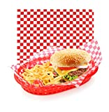New Star Foodservice 44263 Red Check Food Basket Liners, 12 by 12-inch, Set of 36...