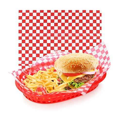 Neuf Star Foodservice 44263 Carreaux Rouges Nourriture Panier Sacs, 12 par 30,5 cm, Lot de 36