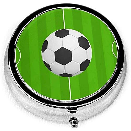 Pill Box, Fußball Fußball Pillenetui Tragbare Pillenbox Container Ohrstöpseletui für die Tasche