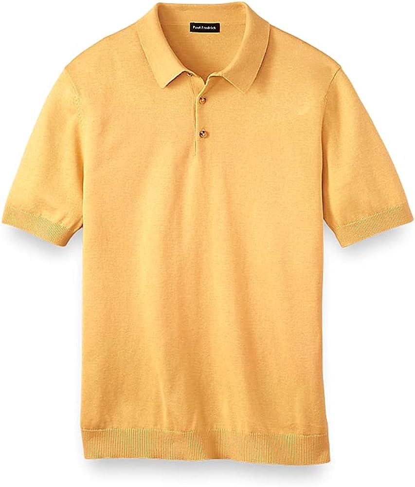 Paul Fredrick Men's Silk Cotton and Cashmere Three Button Polo