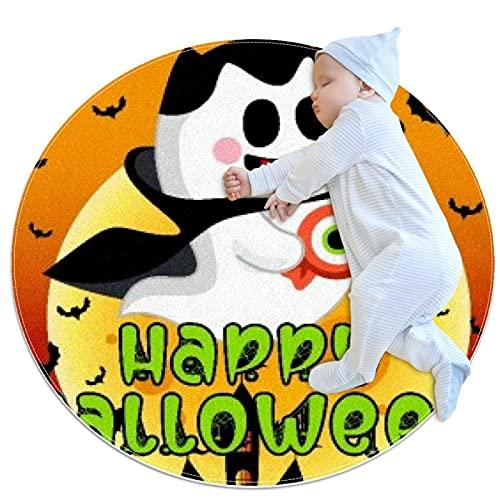 Lindo fantasma de Halloween con murciélagos luna antideslizante área de respaldo alfombras para dormitorio ronda absorbente alfombras mujeres Yoga alfombra entrada alfombra infantil juego piso