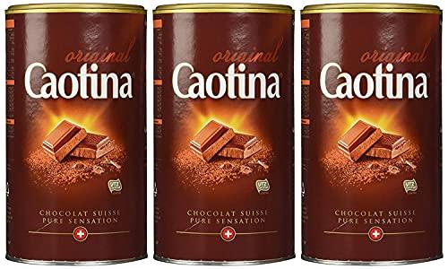 Caotina original, Kakao Pulver mit Schweizer Schokolade, heiße Schokolade, Trinkschokolade, 3er Pack, 3 x 500g
