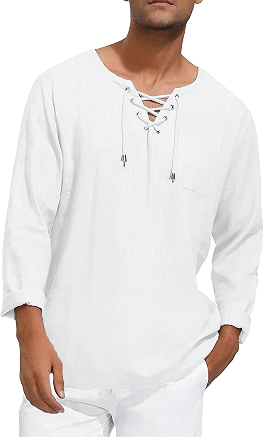 Mens Casual T-Shirts Long Sleeve Linen Classic Slim-fit Solid V Neck Chest Strap Tees Cool Comfort Soft Yoga Shirts
