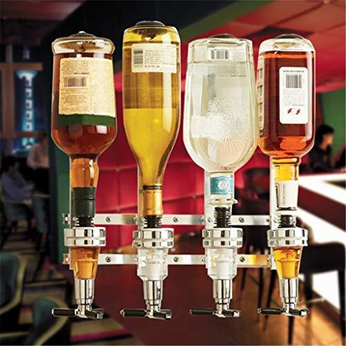 Dispensador de Bebidas Licor Vino 4 Cabezas Dosificador Soporte de Pared para Botellas de Vino Licor
