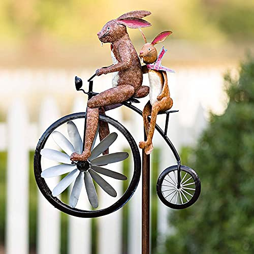 Bicycle Metal Wind Spinner, Vintage Bicycle Metal Wind Spinners with Standing Pole, Frog/Bunny Cycling on High Wheel Bike Spinner, Cat on Motorcycle Garden Spinner, Garden Yard Lawn Decoration