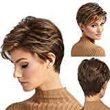 Yemenger Short Natural Fluffy Brown Wig Ombre Brown Mixed Blonde Hair Wigs Heat Resistant Full Wig For Women