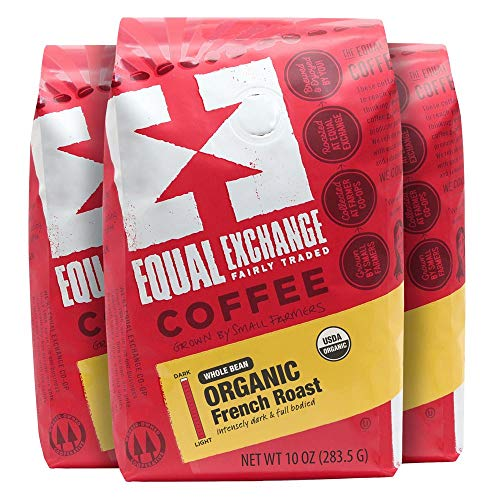 Equal Exchange Organic Whole Bean Coffee, French Roast, 10 Ounce (Pack of 3)
