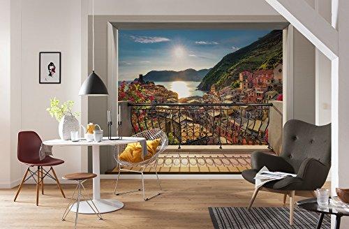 Komar - fotobehang VERNAZZA -368 x 254 cm - behang, muurdecoratie, Italië, terras, 3D, zee, bergen, vakantie - 8-988