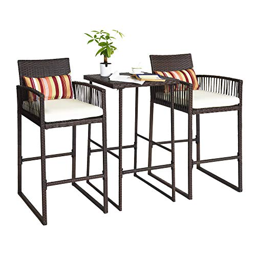 Sundale Outdoor 3-Piece Wicker Bar Stools & Bar Table Set, Rattan Patio Furniture Sets, 2 Stools & 1 Table, with Cusions & Strip Lumbars