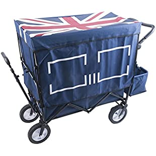 Customer reviews Ali Lamps@ Household Child Shopping Cart, Camping Portable Folding Pull The Truck, Four-wheel Outdoor With Cloth Cover Trolley, 120Kg Load (Color  BLUE):Amedama