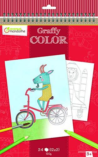 Avenue Mandarine GY020O - Un carnet à spirale 24 pages imprimées à colorier 21x28 cm 120g (12 designs x 2), P'tits Bolides