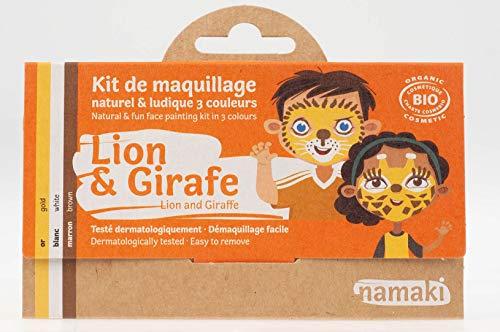 Namaki- Maquillage enfants Kit 3 Couleurs Lion & Girafe Bio & Vegan - Or, Blanc, Noir