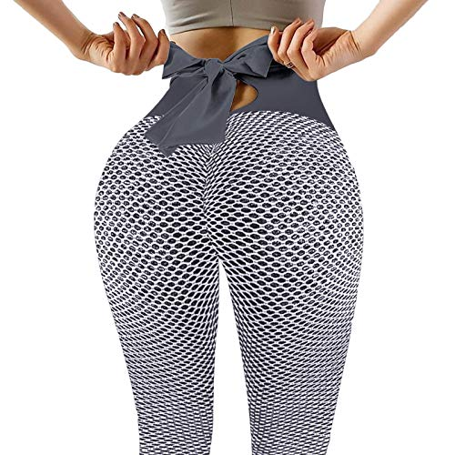 Junjie Leggins Deportivos Mujer Inclinarse Panal Arrugado Cintura Alta Pantalones DeportivosMallas Deportivas Mujer Fitness Yoga para Reducir Vientre