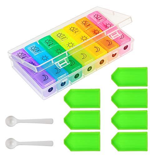Pil-organizer, ZoomSky 7 dagen pillendoosje Wekelijkse medicatie-opbergdoos 3 keer per dag Rainbow-reispillen-dispenser…
