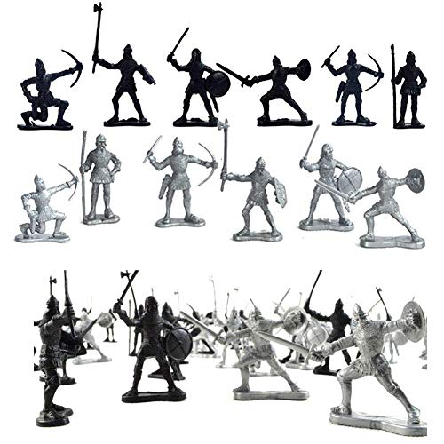 Odowalker 60 Pieces Ancient Soldier Figures Toy Middle Ages Army Infantry Archer Warriors Sword and Shield Swordman Archaic Soldiers Medieval Soldiers Model Military Figures Toy Sliver Black