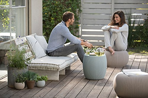 Keter 3-piece Cozy Urban Knit Furniture Set, Compact Indoor/Outdoor Table and 2 Seating Poufs