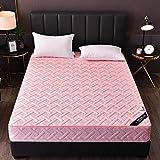 HPPSLT colchón Acolchado, antialérgico antiácaros, Sábana de Cama Pure Color Todo Incluido Hotel-Pink Jade_180 * 200cm