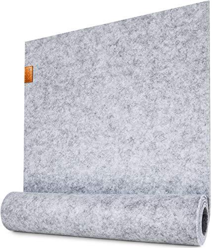 Miqio ® - Design Tischläufer aus Filz abwaschbar | Marken Label aus Echtleder | Tischband 150x40 cm | Skandinavische Deko - passend Tischsets, Platzsets, Tischdecken | grau meliert