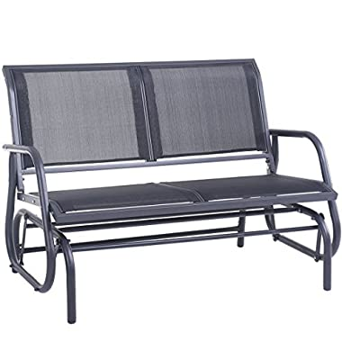 SUPERJARE Outdoor Swing Glider Chair, Patio Bench for 2 Person, Garden Rocking Seating - Gray