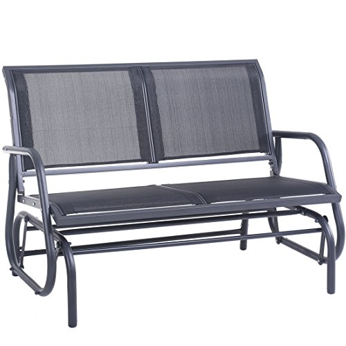 Superjare Outdoor Swing Glider Chair, Patio Bench for 2 Person, Garden Loveseat, Rocking Seating -...