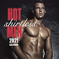 2021 壁掛けカレンダー - ホットシャツレス メンズカレンダー 12 x 12インチ マンスリービュー 16カ月 ホットガイテーマ リマインダーステッカー180枚付き
