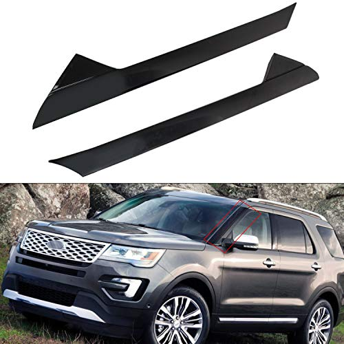 RANSOTO Front Windshield Outer Pillar Trim Molding Compatible with 2011-2019 Explorer Windshield A-Pillar Molding Driver and Passenger Side Replaces BB5Z7803144AA BB5Z7803136AA