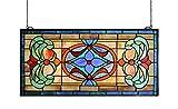 Yogoart Extra Large Horizontal Transom Window Stained Glass Window Panels Hanging 26' Width X 12.8' Height
