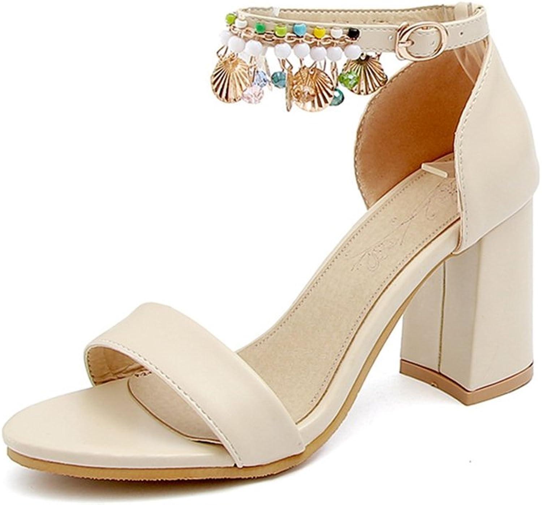 GIY Women's Ankle Strap Chunky Block High Heel Sandals Open Toe Fringe-Wedding, Party, Pump Dress Sandals