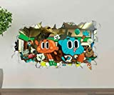 ioljk Gumball Amazing World Playing Custom Wall Decals 3D Wall Stickers Art