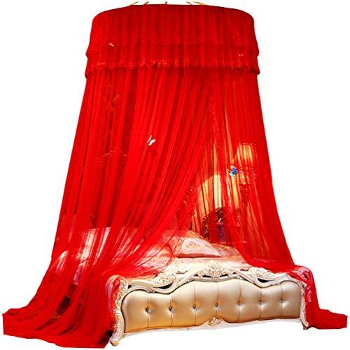 Kaiyei Moskitonetz Universal Himmelbett für Doppel, Einzel, Kinderbetten, Prinzessin Betthimmel Rund mit Klebehaken Schlafzimmer Schmetterling Dekoration RomantischPalast Rot 200cm ×220cm