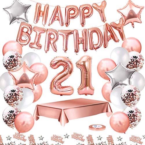 MMTX Globos De Cumpleaños 21 Años Feliz Cumpleaños Decoracion Regalo 21 Regalos Cumpleaños Mujer Oro Rosa con Guirnalda Banner De Cumpleaños para Fiesta,Manteles,Confetti,Globos de Látex Impresos