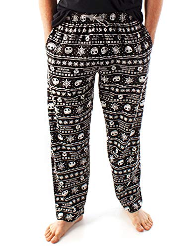 Nightmare Before Christmas Lounge pants Jack Skellington Mens Pyjama Bottoms Large Black