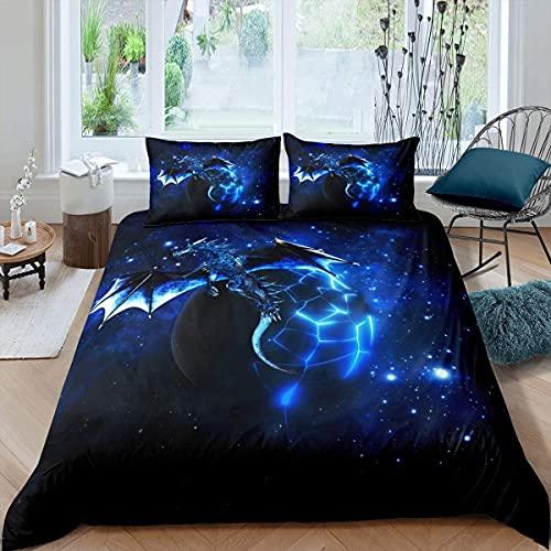 Loussiesd Galaxy Dragon Bettbezug 135x200 cm Kinder Chic Weltraum Sternenhimmel Bettwäsche Set Dschungeltiere Drachen Bettwäsche für Jungen Kinder Teens Schlafzimmer Dekor Blau Schwarz Betten Set