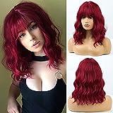HAIRCUBE Pelucas cortas y rizadas de Bob rojo para mujeres Pelucas sintéticas con flequillo Peluca de cosplay resistente al calor para mujeres