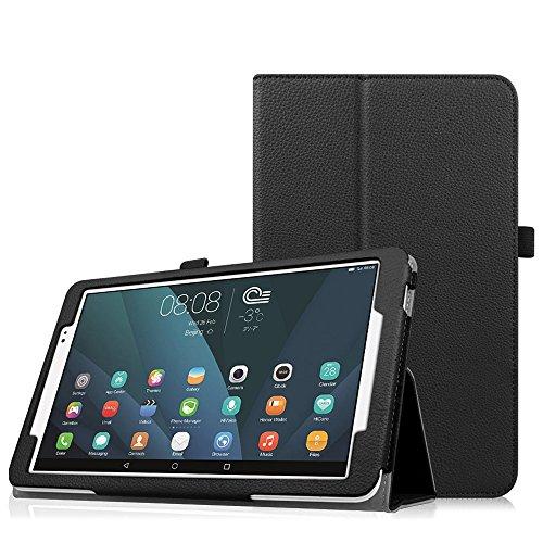 Fintie Folio Funda para Huawei MediaPad T1 10.0 (9.6') - Carcasa de Exterior Sintético con Función de Soporte con Banda Elástica para Stylus, Negro
