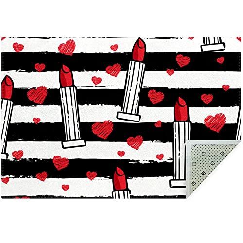 Bennigiry Lady Red Lipsticks - Alfombra para sala de estar, dormitorio, sala de juegos, 160 x 119 cm