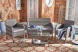 Safavieh PAT7505B Collection Aboka Grey 4-Piece Outdoor Living Patio Set