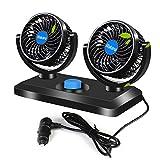 Wakana Dual Head Car Air Fan 360° Rotating Free Adjustment Automobile Vehicle Cooling